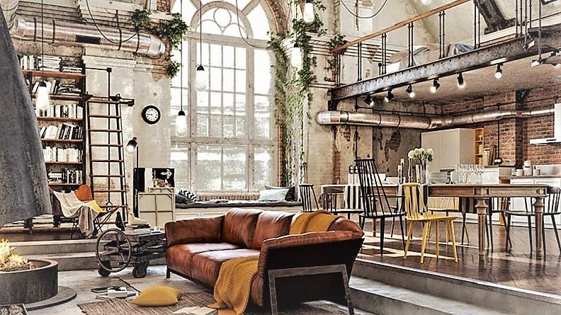 salotto stile industrial moderno